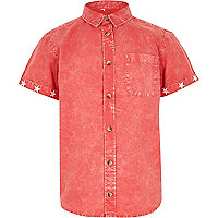 Boys red acid wash short sleeve shirt
