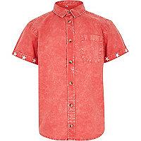 Boys red acid wash short sleeve shirt