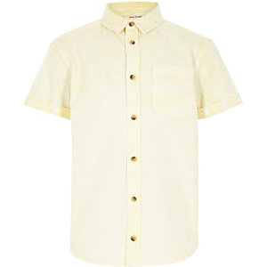 Boys yellow acid wash short sleeve shirt