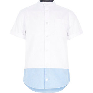 Boys white colour block grandad shirt