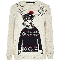 Boys stone deer print jumper