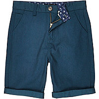Boys teal chino shorts