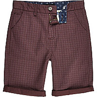 Boys red star print shorts