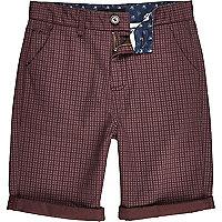 Boys red star print shorts