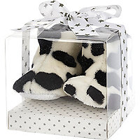 Mini white cow print booties