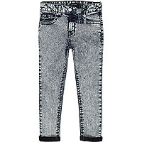 Boys blue acid wash sid skinny jeans