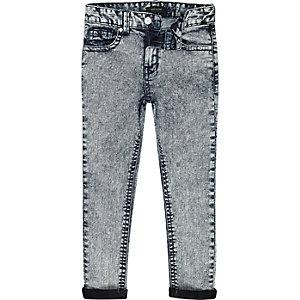 Boys blue acid wash Sid skinny jeans