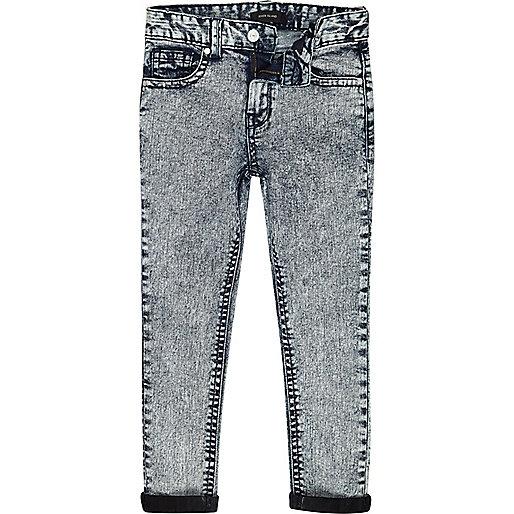 Boys Skinny Jeans Boys Blue Acid Wash Sid Skinny