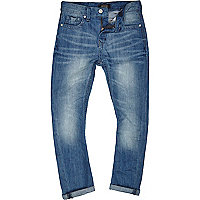 Boys light blue mid wash slim jeans