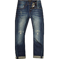 Boys dark blue mid wash ripped chester jeans