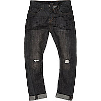 Boys dark blue ripped chester jeans