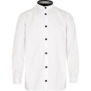 Boys white long sleeve black trim shirt