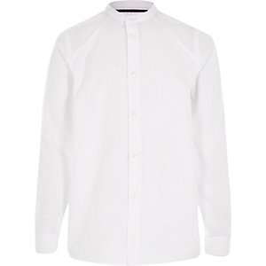 Boys white panel grandad shirt