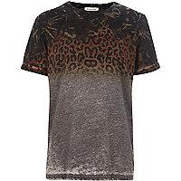 Boys grey leopard fade print t-shirt