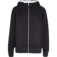 Boys navy cross hatch jersey jacket