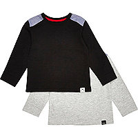 Mini boys black and grey t-shirt 2 pack