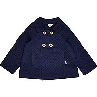 Mini boys navy quilted pea coat