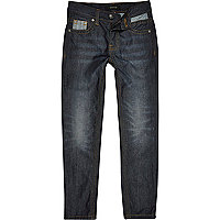 Boys dark blue mid wash denim slim jeans