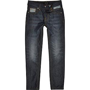 Boys dark blue mid wash Dean straight jeans