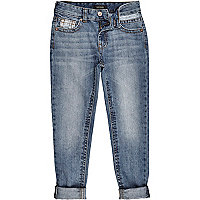 Boys mid wash blue slim jeans