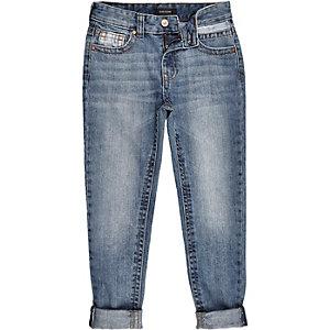 Boys mid wash blue Dean straight jeans