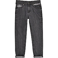 Boys dark grey denim Dean straight jeans
