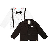 Mini boys blazer and monkey t-shirt set