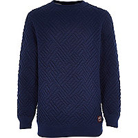 Boys navy quilted sweatshirt