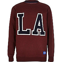 Boy dark red LA print sweatshirt