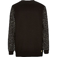 Boys black textured sleeve quilted sweatshirt