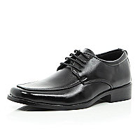Boys black pu lace up shoe