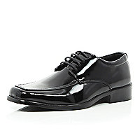 Boys black patent pu lace up shoe