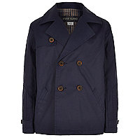 Boys navy double breasted mac coat
