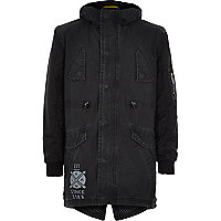 Boys black cotton coated parka coat
