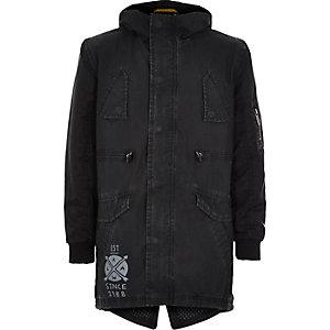 Boys black cotton coated parka coat