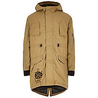 Boys tan cotton coated parka coat