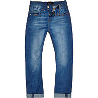 Boys bright blue rolled up hem Chester jeans