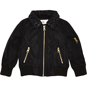 Mini boys black borg collar bomber jacket