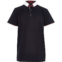 Boys navy smart polo shirt