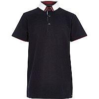 Boys navy smart polo shirt