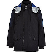 Boys black blue patch mid length parka coat
