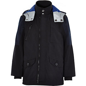 Boys black blue patch mid length parka coat