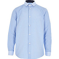 Boys blue long sleeved gingham shirt