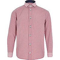 Boys red long sleeve gingham shirt