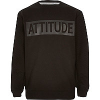 Boys black attitude sweatshirt