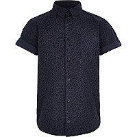 Boys navy leopard print shirt