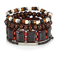 Boys brown metal bracelet set