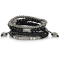 Boys black and silver bracelet set