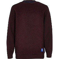 Boys dark red quilted sweatshirt