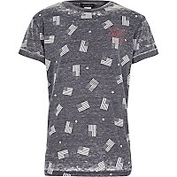 Boys grey American flag print t-shirt